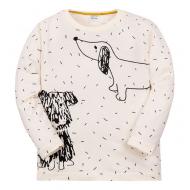"""11-141158 """"Drawn dog"""" Лонгслив для мальчика, 1-4 года, молочный"""