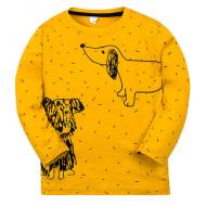 """11-141160 """"Drawn dog"""" Лонгслив для мальчика, 1-4 года, горчичный"""