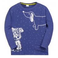 "11-141161 ""Drawn dog"" Лонгслив для мальчика, 1-4 года, синий"