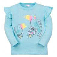 """11-141251 """"Two parrots"""" Лонгслив для девочки, 1-4 года, ментол"""