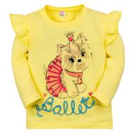 """11-141253 """"Cute puppy"""" Лонгслив для девочки, 1-4 года, желтый"""