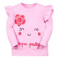 """11-141254 """"Pretty face"""" Лонгслив для девочки, 1-4 года, розовый"""