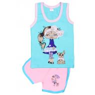 """11-142202 """"Девочка с собачкой"""" комплект майка-шорты, 1-4 года"""