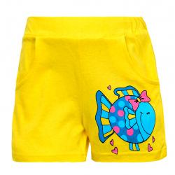 """11-142404 """"FISH"""" Шорты для девочек, 1-4 года, желтый"""