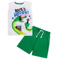 """11-143137 """"Rock partner"""" Костюм для мальчика, 1-4 года, белый\зеленый"""