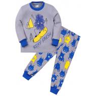 "11-258140 ""Monster"" Пижама для мальчика 2-5 лет, серый\синий"