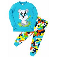 """11-258143 """"Panda"""" Пижама для мальчика 2-5 лет, бирюзовый"""