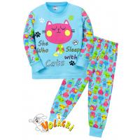 """11-148253 """"Cats"""" Пижама для девочки, 1-4 года, бирюзовый"""