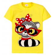 "11-250206 ""Raccoon with glasses"" Футболка для девочки, 2-5 лет, желтый"