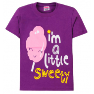 "11-250207 ""I'm little sweety"" Футболка для девочки, 2-5 лет, фиолетовый"