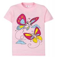"11-250208 ""Two butterflies"" Футболка для девочки, 2-5 лет, розовый"