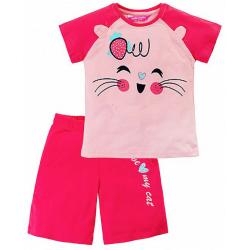 """11-253208 """"I Love My Cat"""" комплект с шортами, 2-5 лет, малиновый"""
