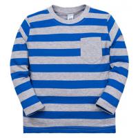 11-371110 Джемпер в полоску с карманом, 3-7 лет, голубой
