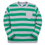 11-371111 Джемпер в полоску с карманом, 4-7 лет, зеленый