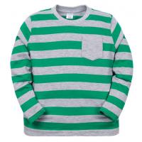 11-371111 Джемпер в полоску с карманом, 3-7 лет, зеленый