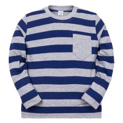 11-371113 Джемпер в полоску с карманом, 3-7 лет, синий