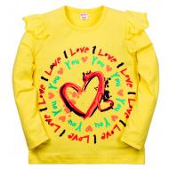 """11-371203 """"LOVE"""" Джемпер для девочки, 3-7 лет, желтый"""
