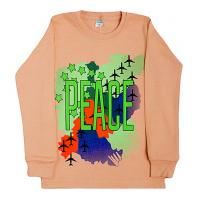 """11-581105 """"Peace"""" джемпер, интерлок, 5-8 лет, бежевый"""
