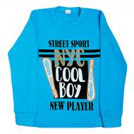 """11-581102 """"Cool boy"""" джемпер, интерлок, 5-8 лет, бирюза"""