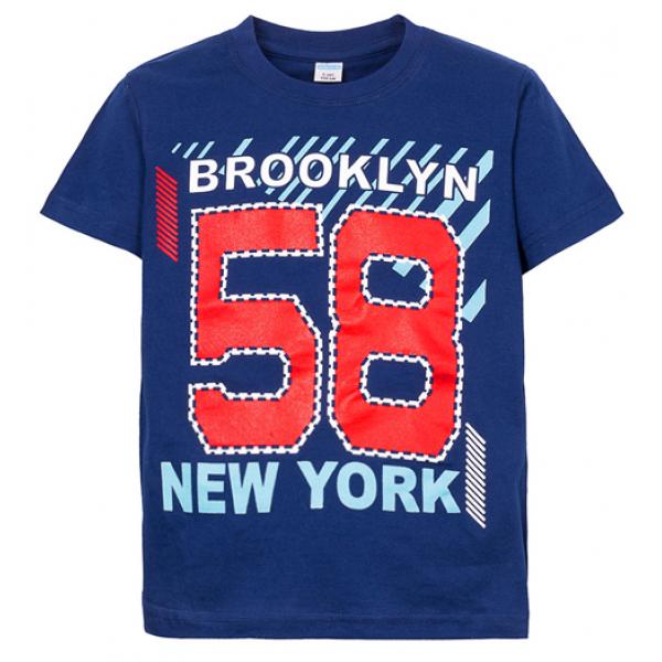 """11-580104 """"58"""" Футболка для мальчика, 5-8 лет, т-синий"""