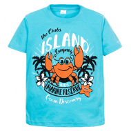 "11-580106 ""Island"" Футболка для мальчика, 6-9 лет, бирюза"