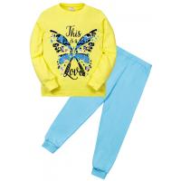 "11-588258 ""Butterfly"" Пижама для девочки, 5-8 лет, желтый\бирюза"