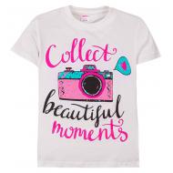 """11-690202 """"Beautiful moment"""" футболка для девочек, 6-9 лет, белый"""