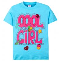 """11-690204 """"Cool girl"""" футболка для девочек, 6-9 лет, туркуаз"""