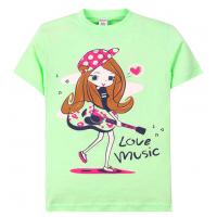 """11-690205 """"Love music"""" футболка для девочек, 6-9 лет, салатовый"""