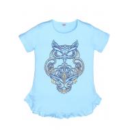 """11-696102 """"Owl"""" Платье-туника, 6-9 лет, бирюза"""