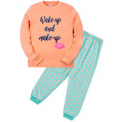 """11-9128202 """"Wake up"""" Пижама для девочки, 9-12 лет, персиковый"""