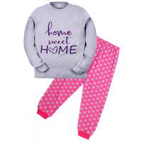 """11-9128203 """"Sweet home"""" Пижама для девочки, 9-12 лет, серый\розовый"""