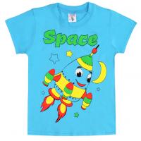 "15-140143 ""Space"" Футболка для мальчика, 1-4 года, голубой"