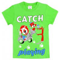 """15-140144 """"Catch"""" Футболка для мальчика, 1-4 года, салатовый"""