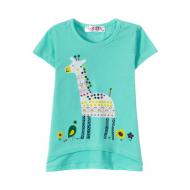 "12-140215 ""Giraffe"" Футболка для девочки, 1-4 года, мята"