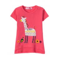 "12-140217 ""Giraffe"" Футболка для девочки, 1-4 года, фуксия"
