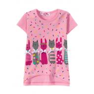 """12-140220 """"Котики"""" Футболка для девочки, 1-4 года, розовый"""