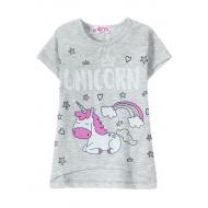 "12-140226 ""Unicorn"" Футболка для девочки, 1-4 года, меланж"