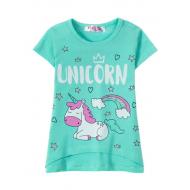 """12-140227 """"Unicorn"""" Футболка для девочки, 1-4 года, мята"""
