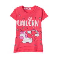 """12-140229 """"Unicorn"""" Футболка для девочки, 1-4 года, фуксия"""