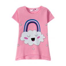 """12-140232 """"Облачко"""" Футболка для девочки, 1-4 года, розовый"""