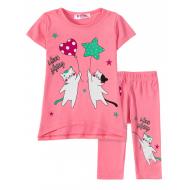 "12-37209-2 ""I love"" Комплект футболка-юбка, 3-7 лет, розовый"
