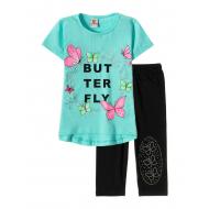 "12-3788-1 ""Butterfly"" Комплект футболка-бриджи, 3-7 лет, мята"