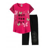 "12-3788-3 ""Butterfly"" Комплект футболка-бриджи, 3-7 лет, малиновый"