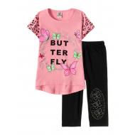 "12-3788-4 ""Butterfly"" Комплект футболка-бриджи, 3-7 лет, розовый"