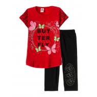 "12-3788-5 ""Butterfly"" Комплект футболка-бриджи, 3-7 лет, гранат"