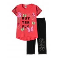 "12-3788-6 ""Butterfly"" Комплект футболка-бриджи, 3-7 лет, коралл"