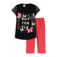 "12-3788-7 ""Butterfly"" Комплект футболка-бриджи, 3-7 лет, т.синий"