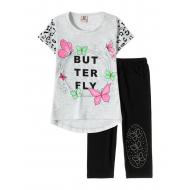 "12-3788-9 ""Butterfly"" Комплект футболка-бриджи, 3-7 лет, меланж"