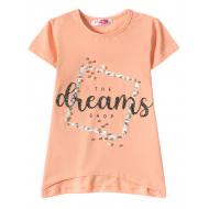 "12-59204-5 ""Dreams"" Футболка для девочки, 5-9 лет, коралл"